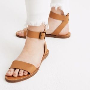 NWT Madewell Ankle Strap tan leather sandals